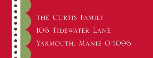 Scallop Red Address Label