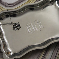 "Engraved Pewter 6"" Scalloped Tray"