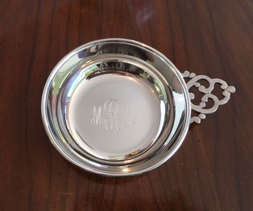 Engraved Pewter Baby Porringer
