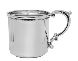 Scroll Handle Beaded Trim Sterling Silver Baby Cup
