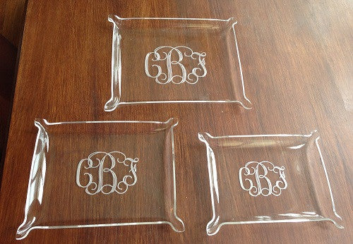 Monogrammed Acrylic Nesting Trays - Set of 3