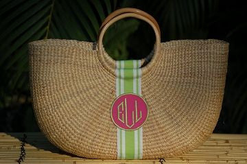Monogrammed Large Shorty Straw Bag