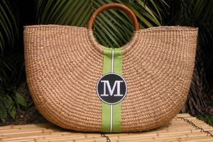 Monogrammed Extra Large Shorty Straw Bag