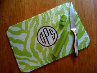 Monogrammed Green Zebra Glass Cutting Board