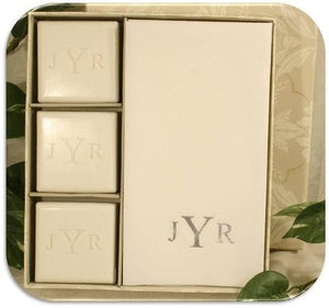 Signature Spa Monogram Square Soap and Towel Gift Set