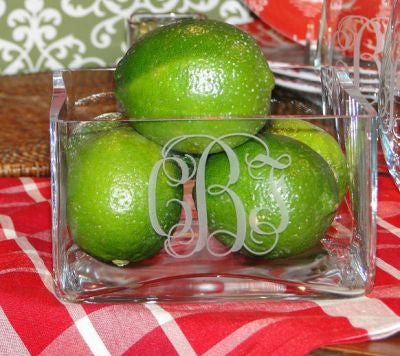 Monogrammed Square Crystal Bowl