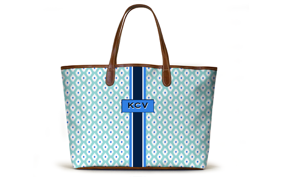 Monogrammed St Anne Diaper Bag - Spearmint Ikat