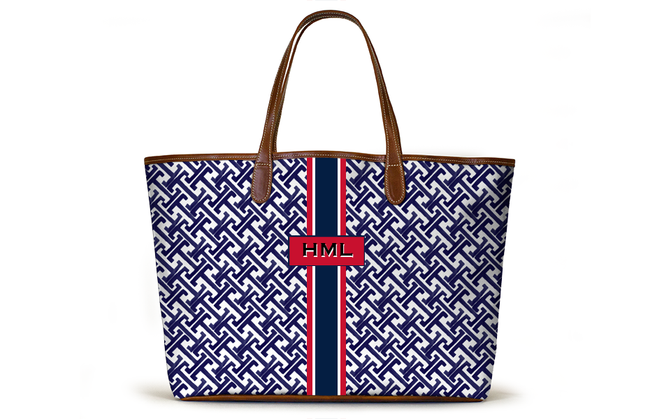 Monogrammed St Anne Diaper Bag - Navy Key