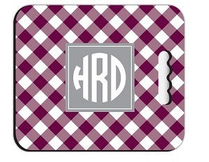 Monogrammed Picnic Check Stadium Cushion