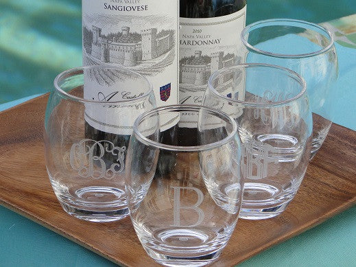 Monogrammed Acrylic Stemless Wine Glasses Set Of 4 The