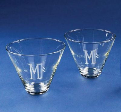 Monogrammed Stemless Martini Glasses