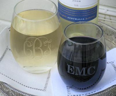 Monogrammed Single Stemless Wine Glass