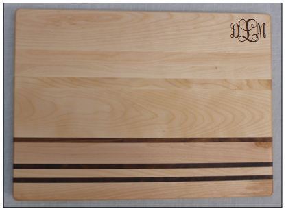 Monogrammed Stripe Wood Cutting Board