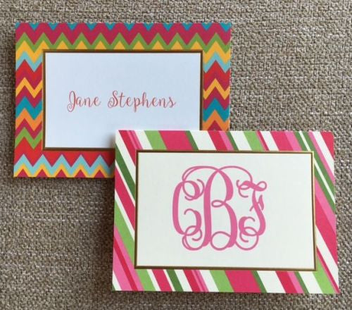 Personalized Chevron and Stripe Folded Notes