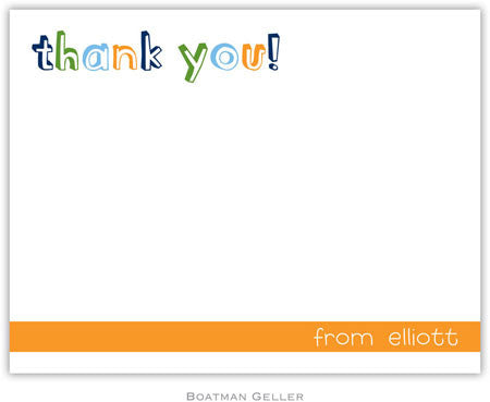 Thank You Orange Flat Notecard
