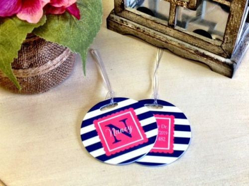 Custom Thick Stripe Pair of Round Luggage Tags