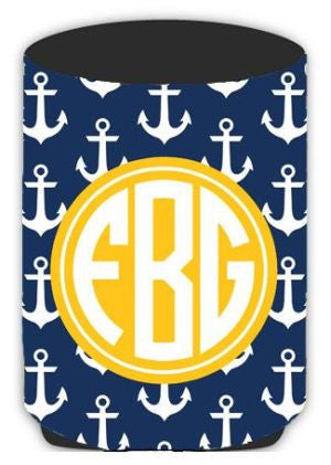 Personalized Preppy Anchor Koozie