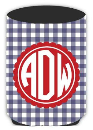Personalized Gingham Koozie