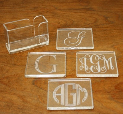 Monogrammed Square Coasters w/ holder (Set of 4)