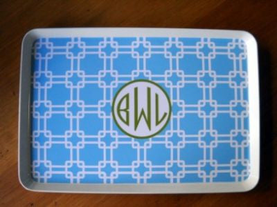 Monogrammed Blue Links Melamine Tray