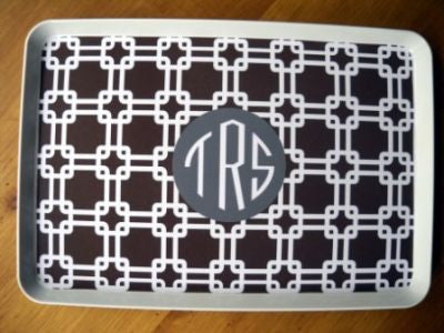 Monogrammed Brown Links Melamine Tray