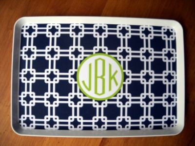 Monogrammed Navy Links Melamine Tray