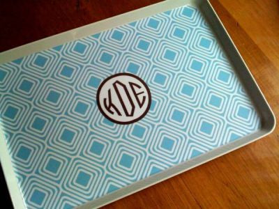 Monogrammed Blue Diamond Melamine Tray