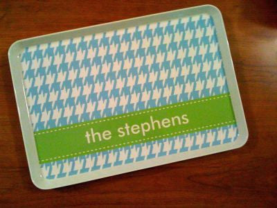 Personalized Blue Houndstooth Melamine Tray