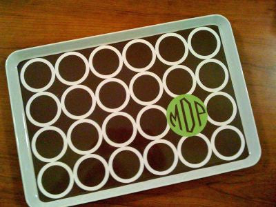 Monogrammed Brown Hoopla  Melamine Tray