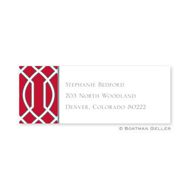 Trellis Red and Gray Address Label