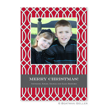 Trellis Red and Gray Flat Photocard