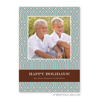Trellis Slate and Brown Flat Photocard