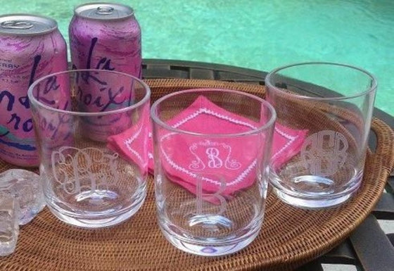 Monogrammed Acrylic 14 oz Cocktail Tumblers (Set of 4)