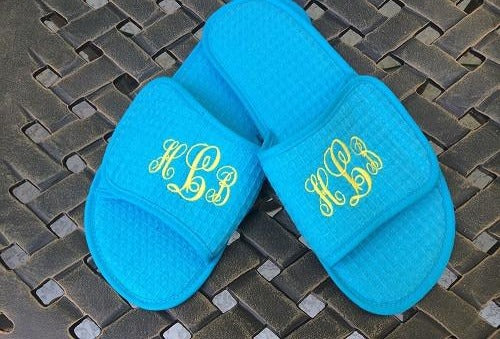 Monogrammed Turquoise Waffle Slippers