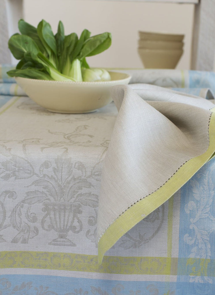 Silver Versailles Napkins Hemmed in Lime