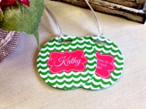 Custom Waverly Pair of Round Luggage Tags