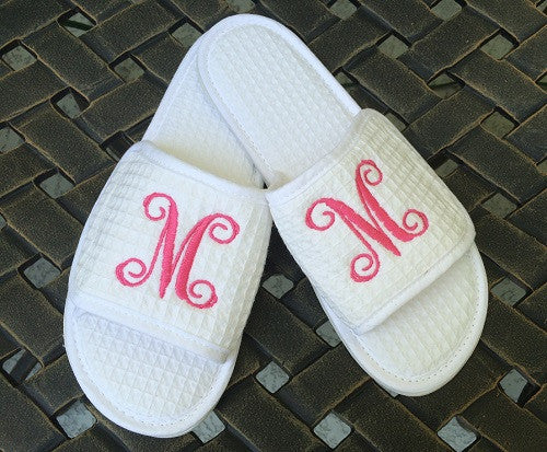 Monogrammed White Waffle Slippers