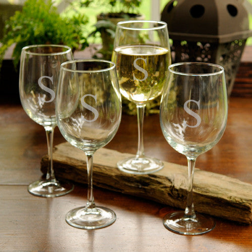 Single Initial White Wine Glasses