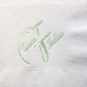 Monogrammed 3-Ply White Cocktail Napkins