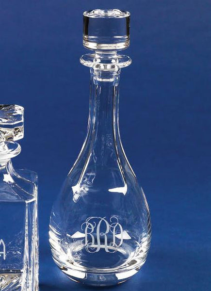 Monogrammed Crystal Wine Decanter