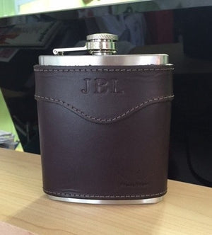 Monogrammed Leather Flask