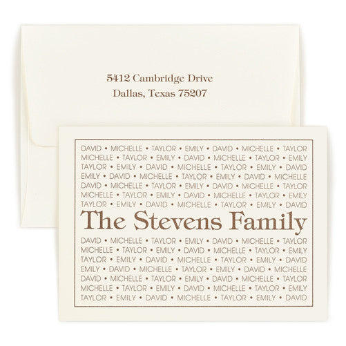 Double Thick Tiffany Family Pride Folded Note