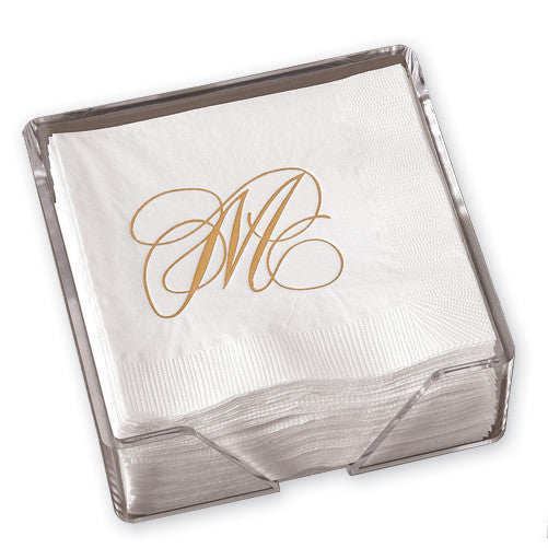 Gold Flourish Single Initial Napkins with Holder