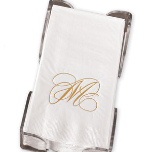 Gold Flourish Single Initial Guest Towels with Holder
