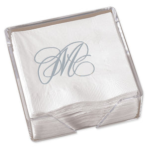 Silver Flourish Napkins with Crystal Clear Holder