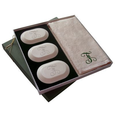 Single Initial Soap & Towel Gift Set