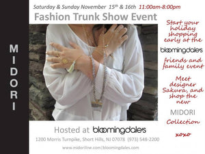 MIDORI LINEA Trunk Show Event at Bloomingdales in Short Hills, NJ