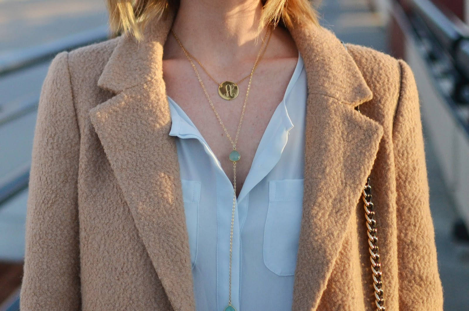 Blogger Amy from TheRealArnolds wearing MIDORI Cecelia Necklace