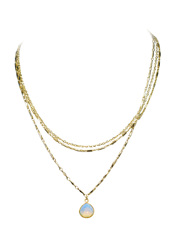METALLIC OCEAN THREE TIER CHAIN AND WHITE OPAL GEMSTONE NECKLACE (SOLD OUT RN)