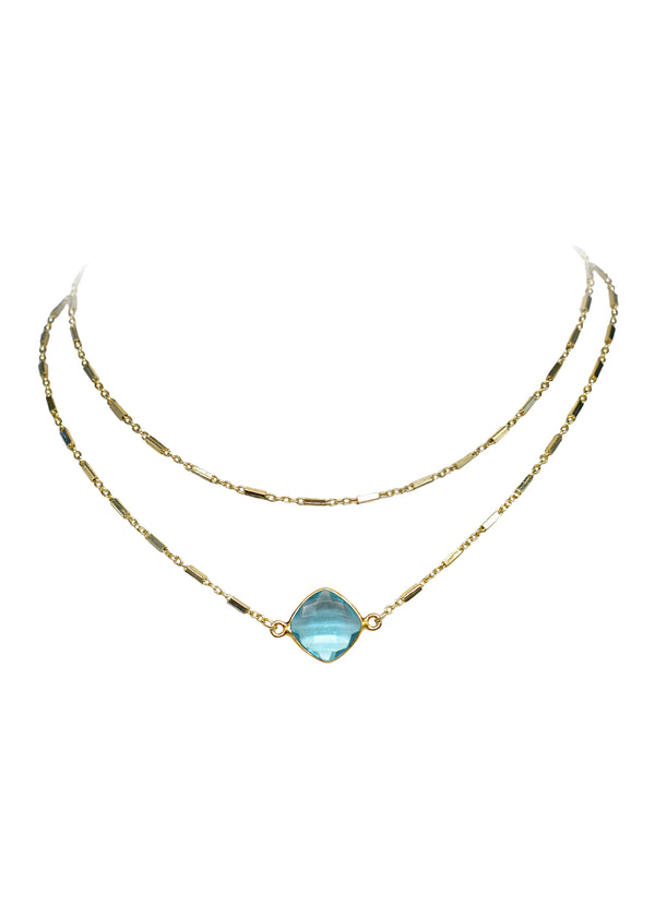 CELESTE ABBY DOUBLE CHOKER NECKLACE AQUAMARINE